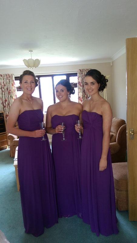 3 bridesmaids before wedding with hair up styles
