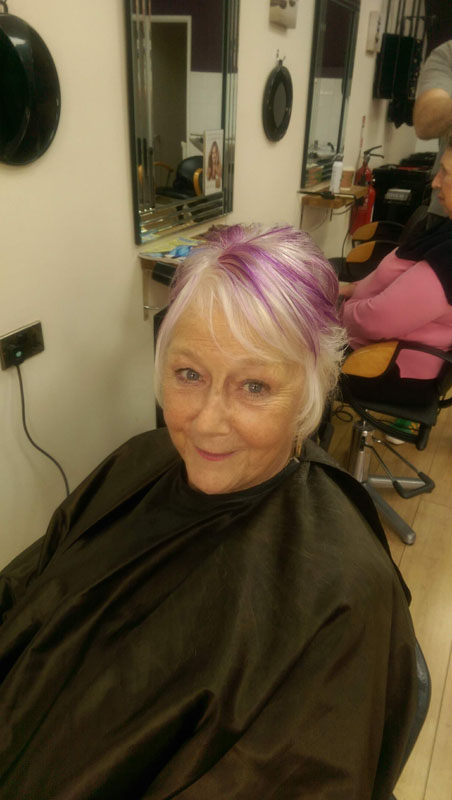 lady with white and pink dyed hair