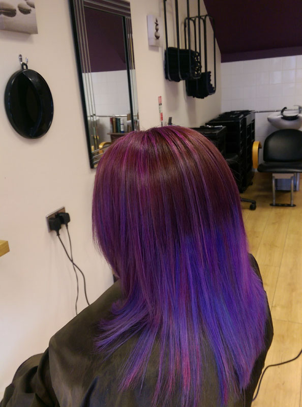 lady with long brown and purple coloured hair