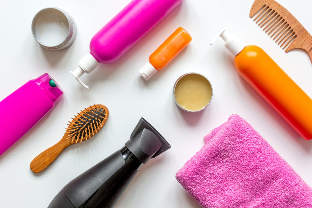 hair products laid out on table